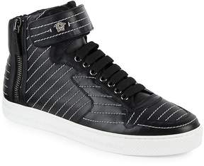 Versace Men's Contrast Stitch Leather High-Top Sneakers