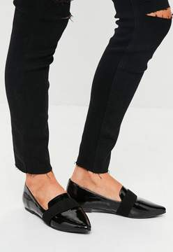 Missguided Black Patent Pointed Loafers