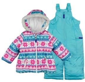 Carter's Toddler Girls Snow Bibs & Winter Coat Set Blue Snowflake Snowsuit 2T