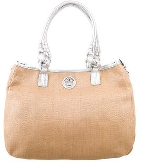 Tory Burch Leather-Trimmed Straw Satchel - METALLIC - STYLE
