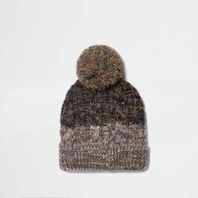 River Island Mens Light brown cable knit bobble beanie hat