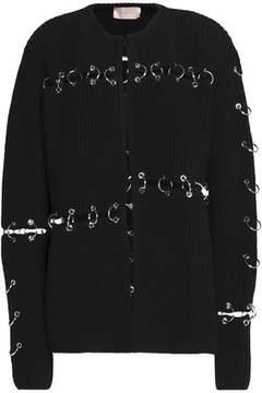 Christopher Kane Ring-Embellished Cutout Wool Cardigan