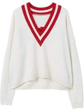 MANGO Constrating V-neck sweater