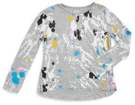 Flowers by Zoe Girl's Splatter Shot Hi-Lo Hem Sweater