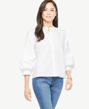 Ann Taylor Tall Poplin Puff Sleeve Shirt