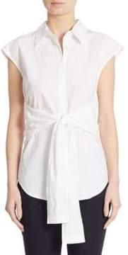 Alexander Wang Tie-Front Cotton Poplin Shirt