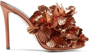 Marco De Vincenzo Lamé-embellished Satin Mules - Bronze