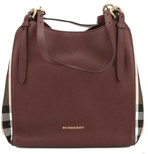 Burberry Mahogany Red Leather and House Check Small Canter Bag - ONE COLOR - STYLE