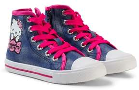 Hello Kitty Sneakers, High, Blue/Fuxia