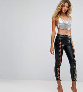 Club L PU Front Lace Up Legging in wet Look