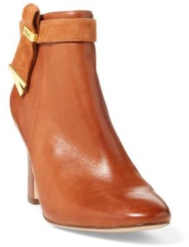 Ralph Lauren Leather Ankle Boot Deepsaddletan/ 10