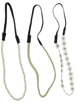 Charlotte Women's 3-Piece Headbands with Daisies, Pearls and Braids
