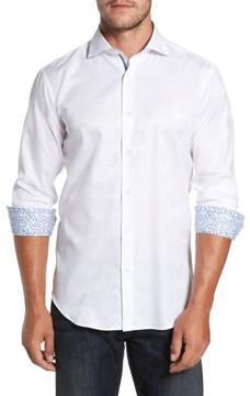Bugatchi Men's Trim Fit Floral Jacquard Sport Shirt