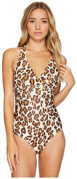 Athena Printed Crisscross One-Piece Women's Swimsuits One Piece