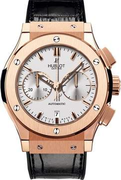 Hublot Classic Fusion Silver Dial Chronograph 18kt Rose Gold Black Leather Men's Watch