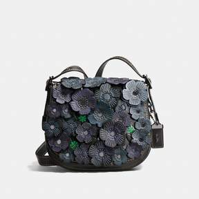 COACH COACH SADDLE 23 WITH TEA ROSE - BLACK/DARK GUNMETAL
