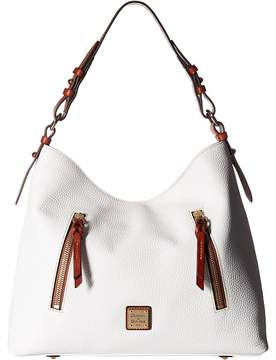 Dooney & Bourke Pebble Cooper Hobo Hobo Handbags - WHITE/TAN TRIM - STYLE