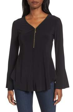 Chaus Women's Zip Front Flounce Sleeve Top