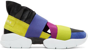 Emilio Pucci Yellow and Blue Colorblock New York Ruffle Slip-On Sneakers