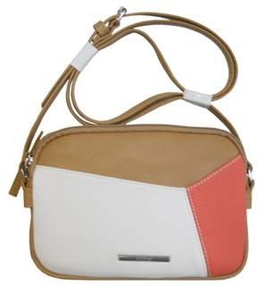Nine West NEW Smooth Blocking Double Zip Crossbody Hand Bag Purse Tan / White