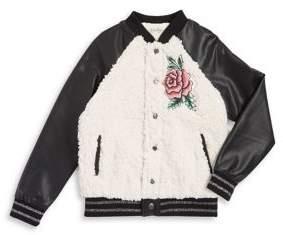 Jessica Simpson Girl's Rose Faux Fur Bomber Jacket