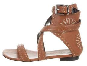 Barbara Bui Leather Perforated Sandals