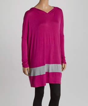 Celeste Pink Contrast Stripe Hoodie Tunic - Women