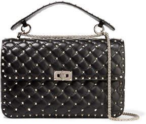 Valentino Rockstud Spike Large Quilted Leather Shoulder Bag - Black