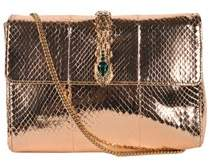 Roberto Cavalli Gold Metallic Snake Embossed Serpent Clutch Shoulder Bag