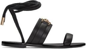 Versace Black Leather Medusa Sandals