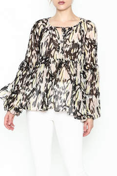 Olivaceous Printed Babydoll Blouse