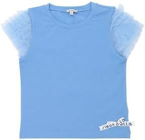 Simonetta Cotton Jersey T-Shirt W/ Tulle Sleeves