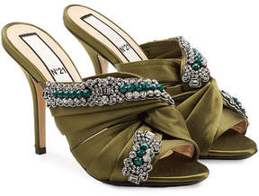 N°21 N21 Twist Embellished Satin Mules