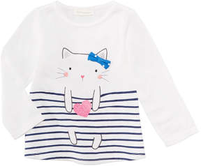 First Impressions Sweet Chic Cat Cotton T-Shirt, Baby Girls (0-24 months), Created for Macy's