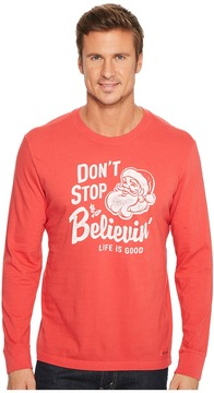 Life is Good Don't Stop Believin' Santa Long Sleeve Crusher Tee Men's T Shirt