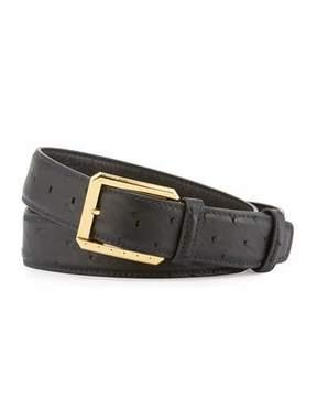 Stefano Ricci Ostrich Golden Buckle Belt, Black