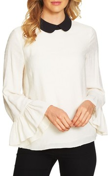 CeCe Women's Ruffle Sleeve Swiss Dot Collared Top