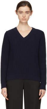 A.P.C. Navy Happy V-Neck Sweater