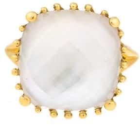 Frederic Sage 18k Yg Small Cushion White Mop and Crystal, No Diamond Tivoli Ring