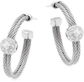 Alor Women's 18K White Gold, Stainless Steel & Diamond Hoop Earrings