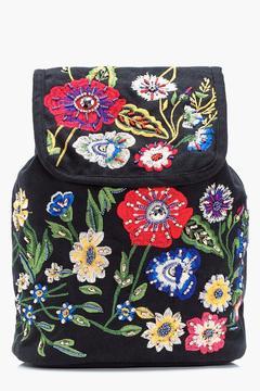 boohoo Macey Floral Embroidered Rucksack