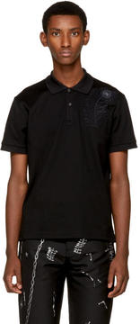 Alexander McQueen Black Embroidered Feather Polo