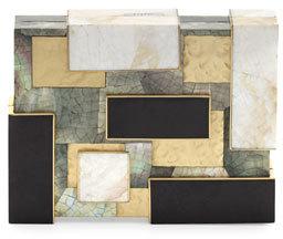 Rafe Ramya Cubist Minaudiere, Black/White/Gold