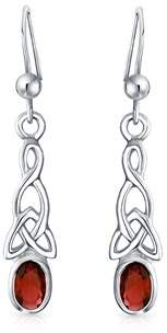 Celtic Bling Jewelry Garnet Knotwork Sterling Silver Dangle Earrings.