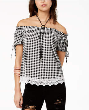 Almost Famous Crave Fame by Juniors' Off-The-Shoulder Gingham Top