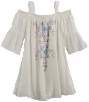 My Michelle Girls 7-16 Off Shoulder Bell Sleeve Printed Top