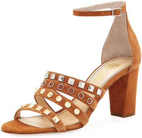 Jerome C. Rousseau Abel Suede Studded High Sandal, Tan