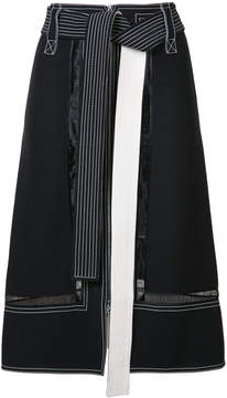 Derek Lam Belted Zip Up Skirt With Lace Inset