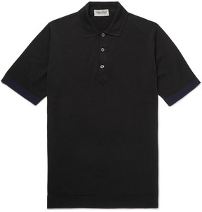 John Smedley Nailsea Contrast-Tipped Virgin Merino Wool Polo Shirt