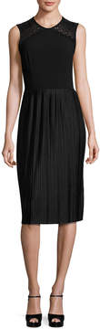 Shoshanna Sleeveless Pleated Cocktail Dress, Black